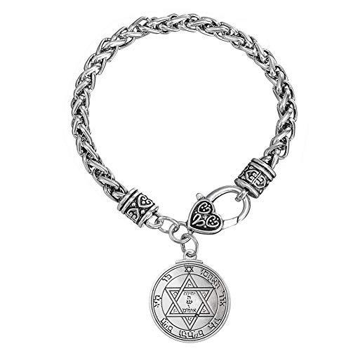plus bas rabais design de qualité grandes variétés LIKGREAT Talisman Pentacle de Mars principales du Solomen Double Face  Magique Charm Bracelet à maillons