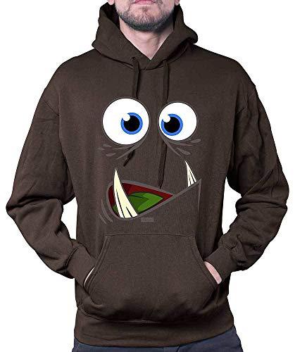 HARIZ Herren Hoodie Monster Gesicht Großer Mund Karneval Kostüm Inkl. Geschenk Karte Braun S