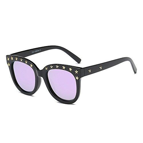 Sonnenbrillen Mode Frauensonnenbrillen Persönlichkeit Sternniete für unisex polarisierte klassische Brillen Brille unzerbrechlicher Rahmen UV-Schutz schwarz eingefasst für Autofahren ( Farbe : Lila )