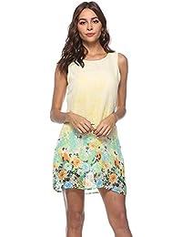 7df0ac66f18c89 JUNHONGZHANG Donna Summer Dress Chiffon Fiore di Posizionamento per Donna  Casual Stile Bohemien Giubbotto di Lusso