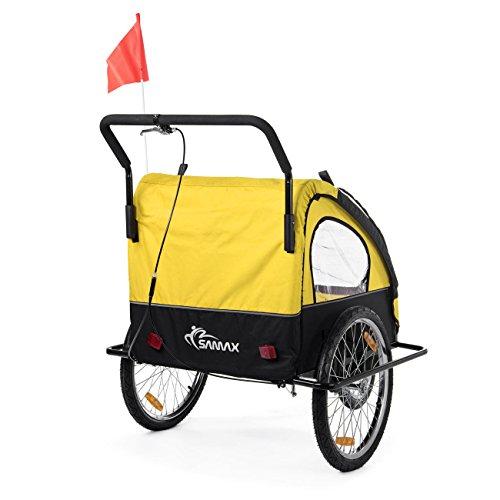 SAMAX Fahrradanhänger Jogger 2in1 Kinderanhänger Kinderfahrradanhänger Transportwagen für 2 Kinder Gelb/Schwarz - Black Frame - 5