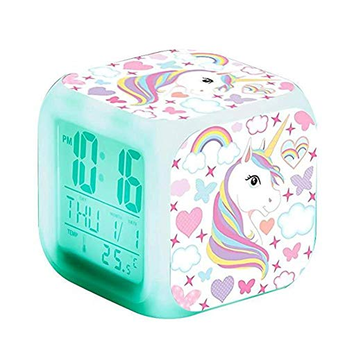 Depory Relojes de Alarma Digitales para niñas, de Noche Que Brilla intensamente Reloj LCD con luz para niños Despertar Reloj de cabecera Regalos de cumpleaños para niños Mujeres Dormitorio