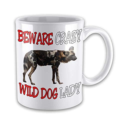 Beware Crazy WILD DOG LADY Funny Novelty Gift Mug - Wild Roses Bone China