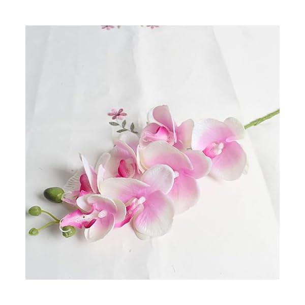 cA0boluoC Flor de Orquídea, Flores Artificiales para Jardín Boda Casa Banquete Decoración (1 Ramas 7 Cabezas) White