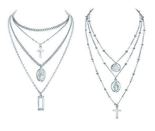 Finrezio 2 Stücke Mehrreihige Kette für Damen Frauen Mädchen Multilayer Choker Kette mit Anhänger Kreuz Quadrat Runde Halskette Y Farbe Silber
