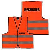 Warnweste Gelb Orange, beidseitig bedruckt auf Brust und Rücken mit Ordner, Security große Auswahl Motive Aufdrucke 034 Besucher (Orange) M