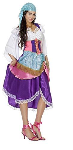 narrenkiste W4382-48 bunt Damen Zigeuner Kleid Piraten Braut - Ungarn Kostüm