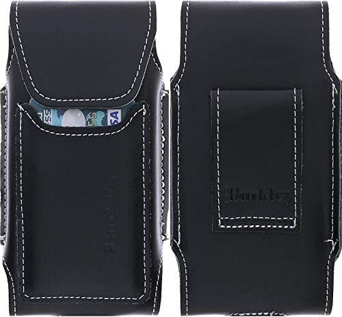Burkley Gürteltasche geeignet für Samsung Galaxy S7 Lederhülle - Handyhülle Case Cover passend für Galaxy S7 - Handmade (Vertikal/Schwarz) - Antik-schwarzes Holz