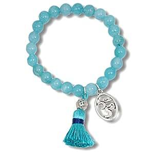 """""""Visuddha Healing Flow"""" Chakra Armband aus Amazonit. Mit den Heil-Edelsteinen und dem OM-Symbol finden Sie ausgefallene und edle Geschenk-Ideen mit Wirkung für besondere Frauen mit Spirit."""