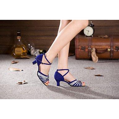 XIAMUO Damen Tanz Schuhe Bauch/Latin/Samba Lackleder/Velvet/Paillette/Synthetische Cuban Heel Silber/Gold Gold