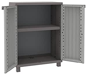 terry schrank niedrig aus kunststoff mit einlegeboden grau taup garten. Black Bedroom Furniture Sets. Home Design Ideas