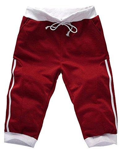 Uomo Pantaloncini da Sport Casuale Sportivi Pantaloni da Jogging Harem Pants Rosso