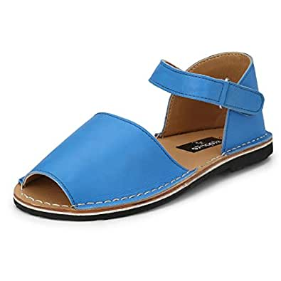 Steprite Kids Flat Leather Sandals for Girls Blue