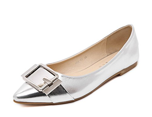 Minetom Donna Ragazze Estate Autunno Ballet Shoes Moda Barca Scarpe Grosso Scarpe Metallico Lucentezza Ballerine Argento