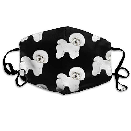 Schwarze Medizinische Peeling (Anti-Allergien Grippe-Staub-Maske, Ohrschlaufe, halbe Gesichtsmaske für Frauen, Männer, Wandern, Outdoor-Aktivitäten, Gesicht und Nasenabdeckung, verstellbares Gummiband - Bichon Frisise Hund schwarz)