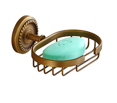 Dusche Soap Dish Antique Brass, Wall Mounted Bad Soap Sponge Holder Tray mit Braiding Carvings, Vintage Soap Dish -