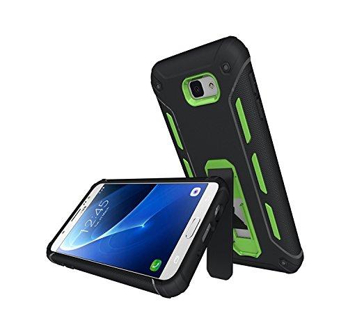 YHUISEN Galaxy J5 2016 Case, Cool Shockproof Rüstung Hybrid 2 In1 TPU und PC Rugged Dual Layer mit Kickstand Fall für Samsung Galaxy J5 2016 J510 ( Color : Blue ) Green