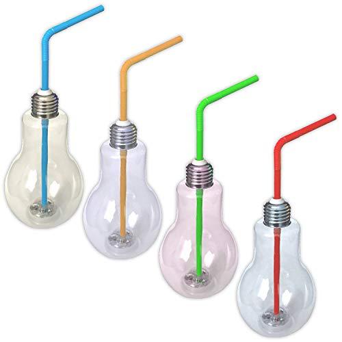Eaxus 4er Set LED RGB Partyglas Birne mit Deckel und Strohhalm 400ml | Party Cocktail Glas Transparent | Beleuchtetes Longdrinkgläser Trinkbecher Blinkend (Mix-drink Gläser)