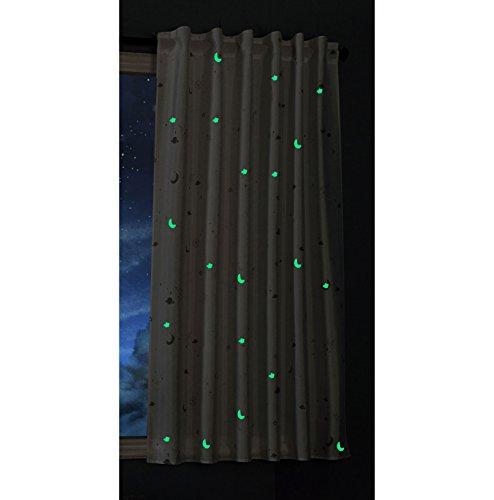 Gardinenbox Vorhang Schal Blickdicht Motiv Sterne Monde fluoreszierend Leuchtend Kinder Kids Schlaufenband Universalband Weiß 1 Stück 175x145 (Höhe x Breite cm), 20495 - Baby-video-monitor-sommer