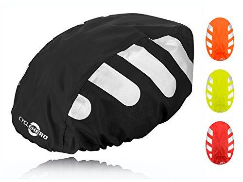Wasserdichter Regenschutz für den Fahrradhelm (schwarzes Cover) Unisex Regenüberzug für den Helm mit Gummizug und Reflektor-Elementen – wasserfester Überzug für...
