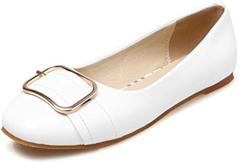 Botines para Mujer Fondo Plano Cabeza Redonda Boca Baja Talla Grande de Charol Moda de Hebilla Cuadrada Zapatos...