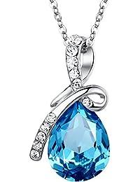 """BOOLAVARD Bleu Eternal Pendentif eau goutte Crystal Love livrés avec une chaîne Collier 19"""" + Boite Cadeau"""