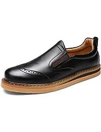 Shenn Hombres Británico Diseño Ponerse Bajo Top Vestir Cuero Zapatos