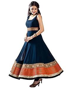 Multi Retail Blue Embroidered Georgette Semistitched Designer Salwar Kameez With Dupatta - Blue Fit Type: Loose Fit