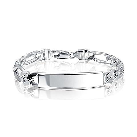 Bling Jewelry Mens Sterling Silver Bracelet Chaîne Figaro ID 250 Italie Jauge avec gravure