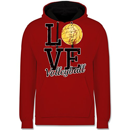 Volleyball - Love Volleyball - Kontrast Hoodie Rot/Schwarz