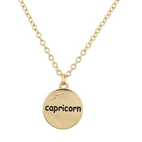 LUX Zubehör Gold Ton Steinbock Astro Schild Gravur Charm Halskette (Toggle Herz Halskette Tiffany)