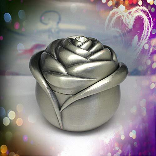 LKJLIN Schmuckkästchen Ewige Blumen Aufbewahrungsbox Metall Schmuckschatulle Zink-Legierung Schmuckschachteln Rose Flower Shaped Design Geschenkpaket 3 Farben,Zinn Farbe