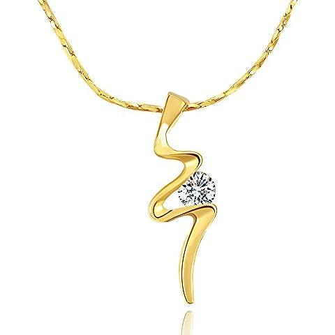 City Ouna® 18K diamante caliente alergia resistente chapado oro amarillo hacer un deseo colgante collar con