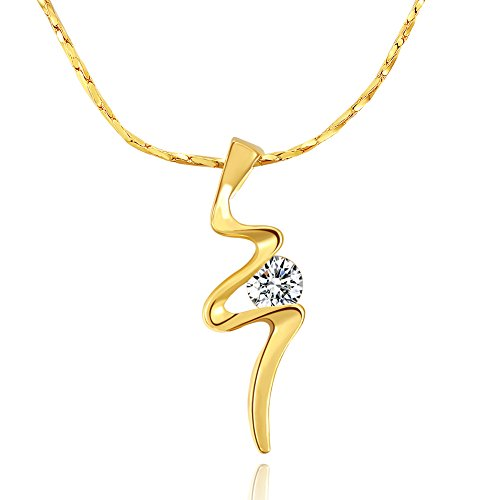 City Ouna® Elementi di Swarovski 18k oro giallo placcato allergia resistente caldo Diamond fare una desiderio pendente collana con