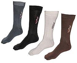 Indiweaves Mens Cotton Socks (Pack of 4 Socks)-Grey/Black/Creame/Brown