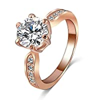 Kate Princess Wedding Ring 18K Rose Gold Plated Clear Zircon