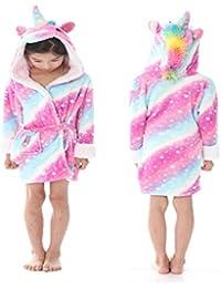 eBoutik Estrella de Chicas Arco Iris Sirena Unicornio Albornoz Bata 3D Cuerno Mágico Púrpura Rosa Amarillo Pijamas Pijamas (Edad 8-10, Pink and…