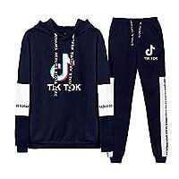 Hoodie en Broek Tik Tok Unisex Trainingspak 2-delig Pak Sportwear Volledig Trainingspak Sweatsuit Activewear Gym Outfit voor Man Vrouw C00605TZ014XL