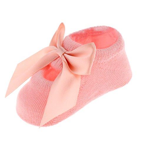 MagiDeal 3 Paare 12-36 Monate Säugling Baby Mädchen Prinzessin Kleinkind Fuß Socken mit Rüschen Blümchen Spitze Bowknot - Rosa, Stil 1