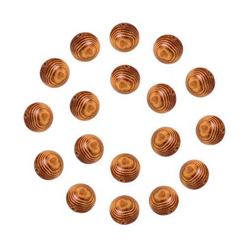 nbeads 100rund Holz Perlen 30x 29mm mit großen Löchern, automatische Ausrichtung, bleifrei, Loch: 6mm