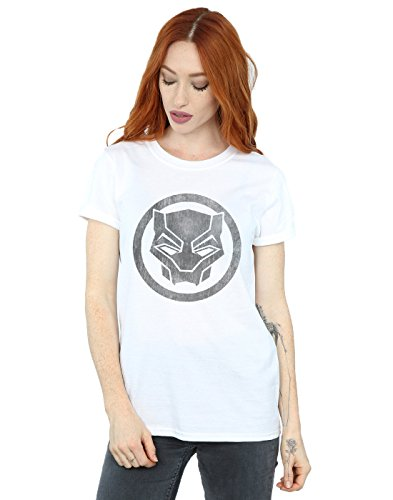 Absolute Cult Marvel Femme Black Panther Distressed Icon Petit Ami Fit T-Shirt Blanc