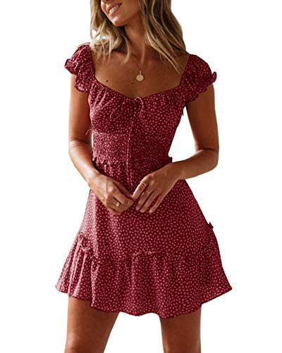 en Sommerkleid High Waist Volant Kleid Vintage Minikleid Strandkleid ()