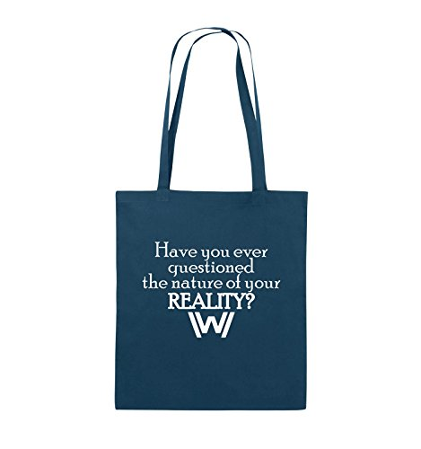 Comedy Bags - Have you ever questioned - WESTWORLD - Jutebeutel - lange Henkel - 38x42cm - Farbe: Schwarz / Pink Navy / Weiss
