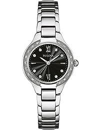 Bulova Reloj de Las Mujeres de Acero Inoxidable Negro dial con Diamantes 96r207