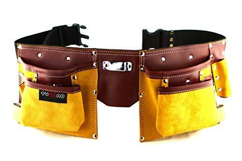 Cinturón porta herramientas de cuero de calidad con 11...
