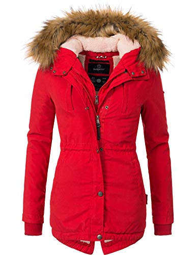 Marikoo Damen Mantel Wintermantel Winterparka Akira Rot Gr. L Mantel Wintermantel