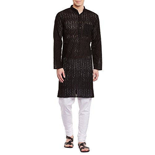 Mens Embroidered Cutwork Cotton Kurta Machine Embroidery, Black Chest Size: 34 Inch