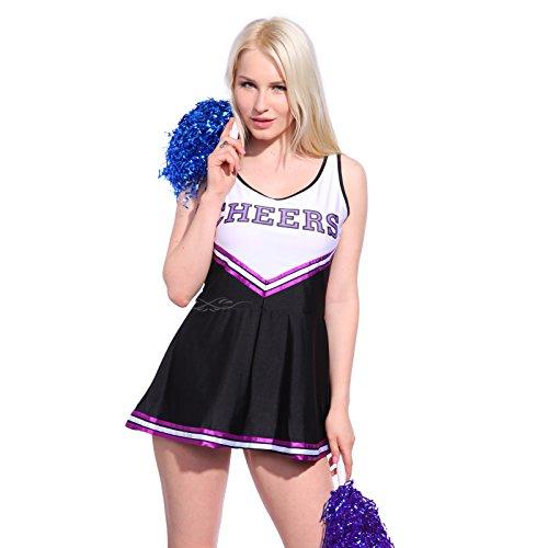 Imagen de anladia  disfraz de animadora cheerleader para adulta mujer mini vestido sin mangas con letras ¨cheers¨ color negro con morado talla 36 38 40 42 44 s 38  alternativa