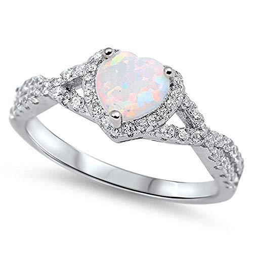 n-Ring/Verlobungsring /Ehering - 925 Sterlingsilber Weiß Opal Ring Zirkonia Herz ()