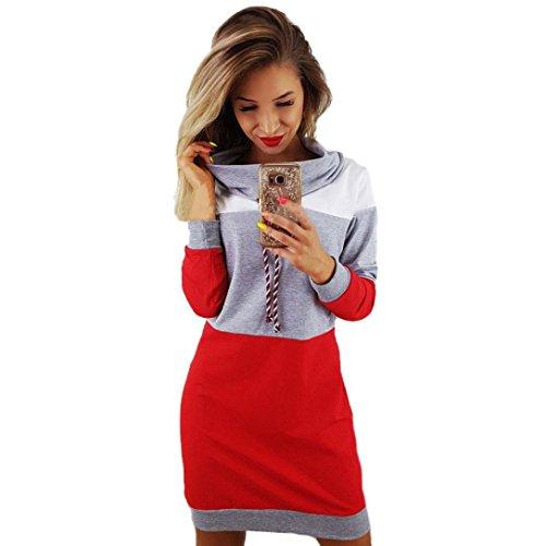 Elecenty Damen Minikleid Halsband Kleider Bodycon Frauen Langarm Sweatshirt Blusekleid Langarmkleid Langarm Patchwork Tops Knielang Kleid Hemdkleid Partykleid (L, Grau) (Button Pullover Kleid)